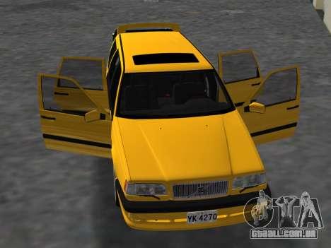 Volvo 850 R Estate para GTA Vice City vista interior
