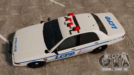 GTA V Police Vapid Cruiser LCPD para GTA 4 vista direita