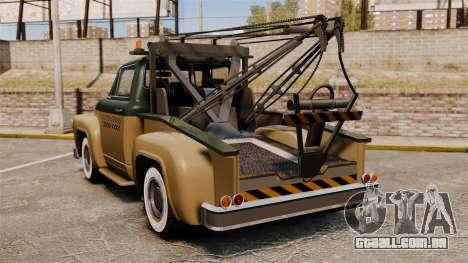 Towtruck Restored para GTA 4 traseira esquerda vista