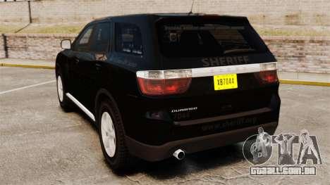 Dodge Durango 2013 Sheriff [ELS] para GTA 4 traseira esquerda vista