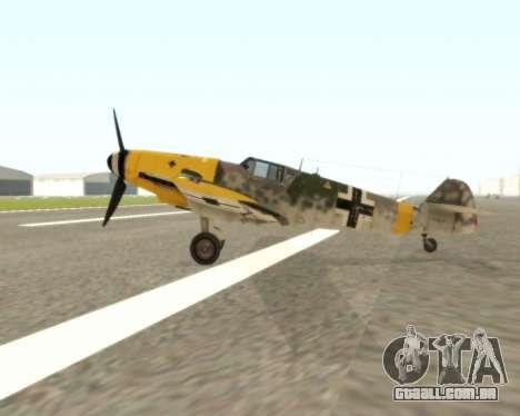 Bf-109 G6 v1.0 para GTA San Andreas traseira esquerda vista