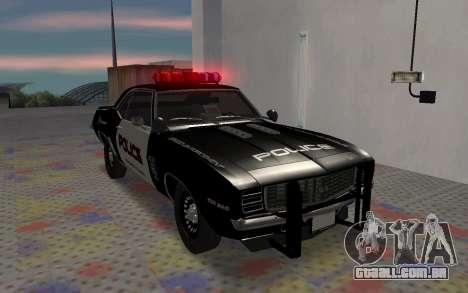 Chevrolet Camaro SS Police para GTA San Andreas esquerda vista