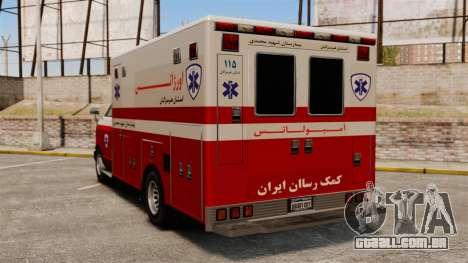 Ambulância iraniana para GTA 4 traseira esquerda vista