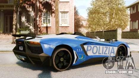 Lamborghini Aventador J Police para GTA 4 vista direita