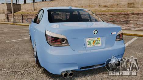 BMW M5 2009 para GTA 4 traseira esquerda vista