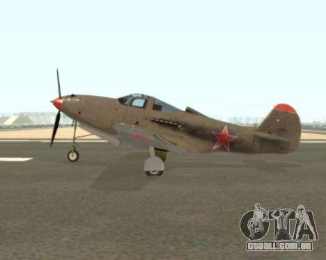 Aircobra P-39N para GTA San Andreas esquerda vista