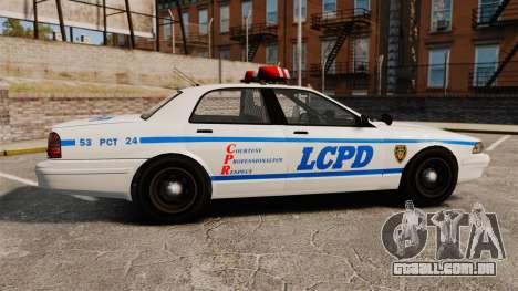 GTA V Police Vapid Cruiser LCPD para GTA 4 esquerda vista