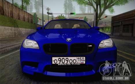 BMW M5 F10 v2 para GTA San Andreas vista traseira