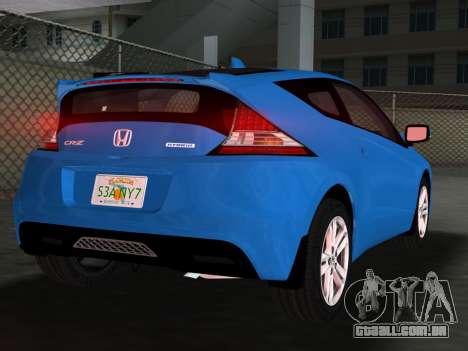 Honda CR-Z 2010 para GTA Vice City vista inferior