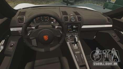 Porsche Cayman S 981C para GTA 4 vista interior