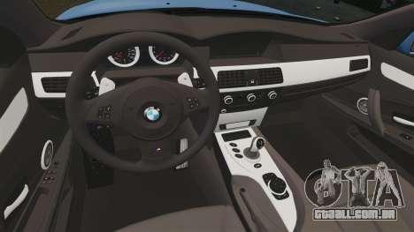 BMW M5 2009 para GTA 4 vista interior