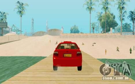Toyota Vios Taxi Costa Rica para GTA San Andreas traseira esquerda vista