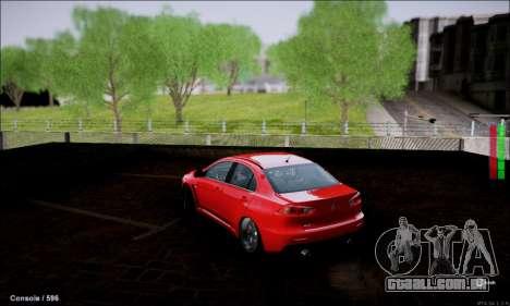 Mitsubishi Lancer Evolution X Stance Work para GTA San Andreas traseira esquerda vista