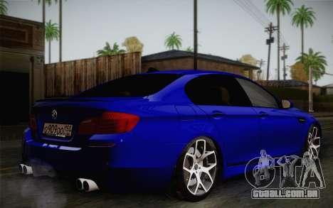 BMW M5 F10 v2 para GTA San Andreas traseira esquerda vista