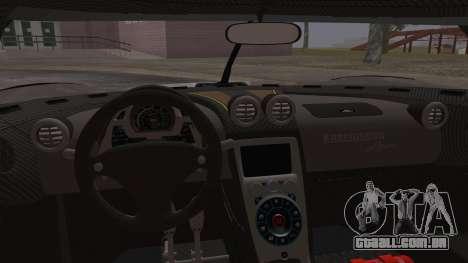 Koenigsegg Agera para GTA San Andreas vista superior