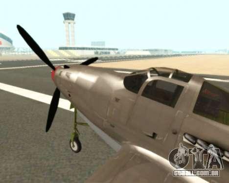 Aircobra P-39N para GTA San Andreas traseira esquerda vista