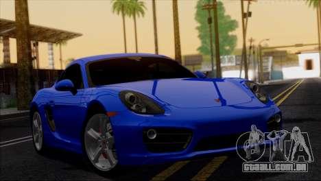 Porsche Cayman S 2014 para GTA San Andreas vista inferior
