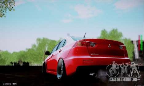 Mitsubishi Lancer Evolution X Stance Work para GTA San Andreas esquerda vista