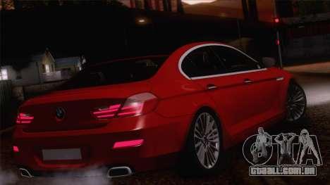 BMW 6 Gran Coupe v1.0 para vista lateral GTA San Andreas