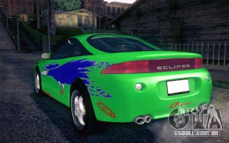 Mitsubishi Eclipse Fast and Furious para GTA San Andreas vista superior
