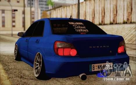 Subaru Impreza JDM para GTA San Andreas traseira esquerda vista
