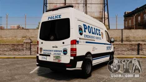 Mercedes-Benz Sprinter 3500 Emergency Response para GTA 4 traseira esquerda vista
