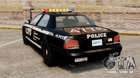 GTA V Vapid Police Cruiser [ELS] para GTA 4 traseira esquerda vista
