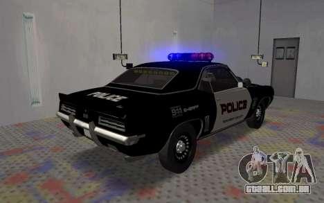 Chevrolet Camaro SS Police para GTA San Andreas traseira esquerda vista