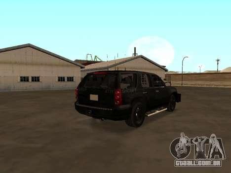 GMC Yukon ATTF para GTA San Andreas traseira esquerda vista