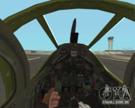 Aircobra P-39N para vista lateral GTA San Andreas