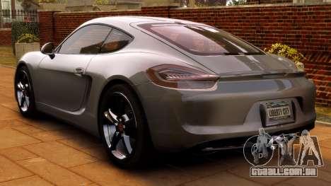 Porsche Cayman 981 S v2.0 para GTA 4 vista de volta