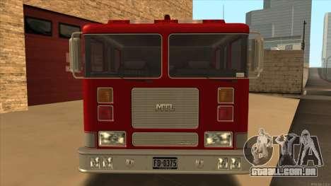 Firetruck HD from GTA 3 para GTA San Andreas traseira esquerda vista