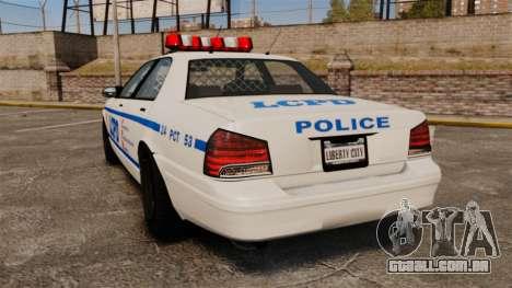 GTA V Police Vapid Cruiser LCPD para GTA 4 traseira esquerda vista