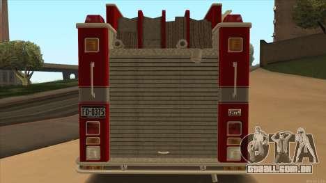 Firetruck HD from GTA 3 para GTA San Andreas vista direita