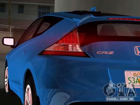 Honda CR-Z 2010 para GTA Vice City vista direita