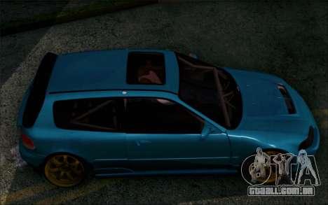 Honda Civic EG6 Tube Frame para GTA San Andreas traseira esquerda vista