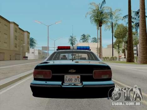 Chevrolet Caprice LAPD 1991 [V2] para GTA San Andreas traseira esquerda vista