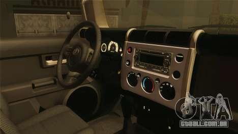 Toyota FJ Cruiser 2012 para GTA San Andreas vista traseira