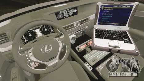 Lexus GS350 West Midlands Police [ELS] para GTA 4 vista de volta