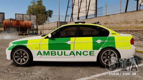 BMW 330i Ambulance [ELS] para GTA 4 esquerda vista