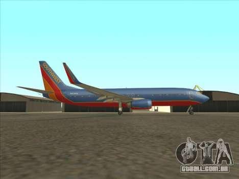 Boeing 737 Southwest Airlines para GTA San Andreas esquerda vista
