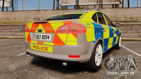 Ford Mondeo Metropolitan Police [ELS] para GTA 4 traseira esquerda vista