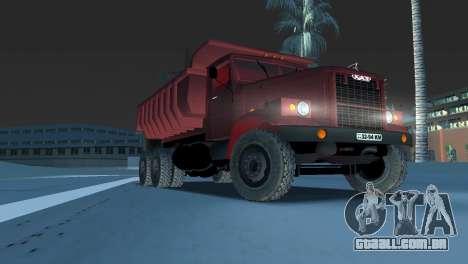 Caminhão de descarga KrAZ 255 para GTA Vice City vista traseira
