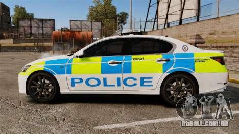 Lexus GS350 West Midlands Police [ELS] para GTA 4 esquerda vista