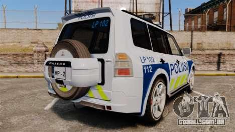 Mitsubishi Pajero Finnish Police [ELS] para GTA 4 traseira esquerda vista