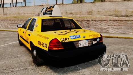 Ford Crown Victoria 1999 SF Yellow Cab para GTA 4 traseira esquerda vista