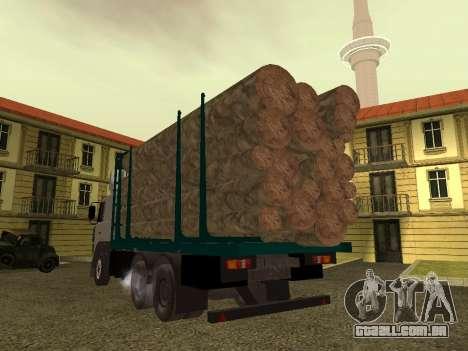 Transportador de madeira MAZ 6430 para GTA San Andreas vista direita