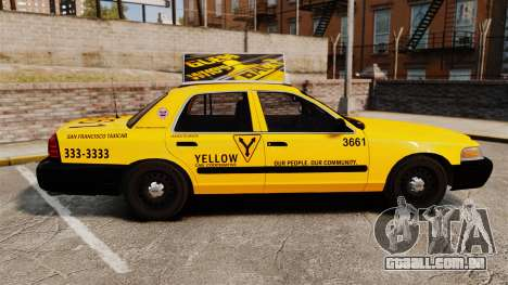 Ford Crown Victoria 1999 SF Yellow Cab para GTA 4 esquerda vista