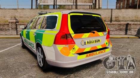 Volvo V70 Ambulance [ELS] para GTA 4 traseira esquerda vista