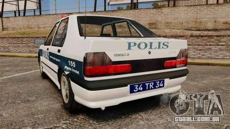 Renault 19 Turkish Police para GTA 4 traseira esquerda vista